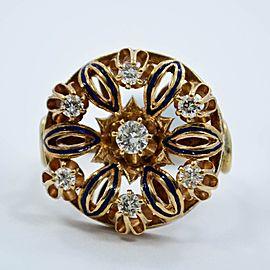 Diamond Ring Estate 18K Yellow Gold Blue Enamel .50Ct Diamonds SIZE 8