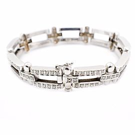 14K White Gold 7.20Ct Diamond Thick Heavy Chain Bracelet
