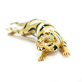 David Webb Tiger Brooch With Ruby Pear Shaped Eyes & Diamonds 18K Yellow Gold