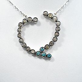 """Heart Pendant 14 K White Gold 3.45 Ct Multi Color Diamonds with Chain 8.8"""""""