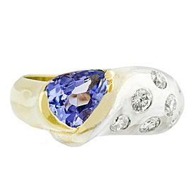 Diamond, Tanzanite Mens Ring Size 6.75