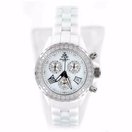 Techno JPM 868C White Ceramic & Diamonds Bezel 38mm Womens Watch