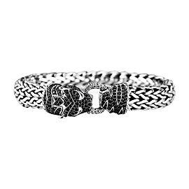 John Hardy Legends Macan Black Sapphire Tiger Head Silver Chain Bracelet