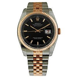 Rolex Datejust 116231 BKSJ Stainless Steel & Rose Gold Jubilee Black Stick Dial 36mm Watch