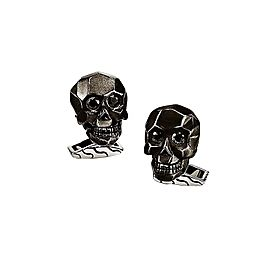 John Hardy Sterling Silver With Black Sapphire Eyes Skull Cufflinks