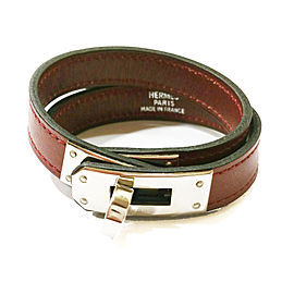 Hermes Oxblood Kelly Double Tour Palladium Turn Bracelet