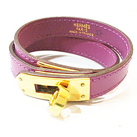 Hermes 18K Gold Purple Kelly Double Tour Turn Bracelet