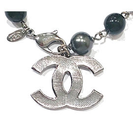 Chanel Silver Plaid CC Black Onyx Simulated Glass Pearl Bracelet