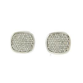David Yurman 18K White Gold Pave Diamond Cufflinks
