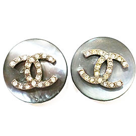 Chanel Dark Grey Mother of Pearl CC Rhinestone Clip on Earrings