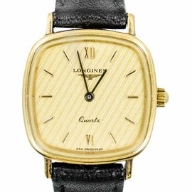 Longines 21152120 Gold Plated Bezel Calfskin Strap Quartz Womens Watch
