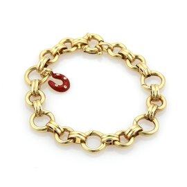 Aaron Basha 18K Yellow Gold & Diamond Horse Shoe Charm Bracelet