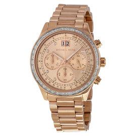 Michael Kors Brinkley MK6204 Chronograph Rose Gold Tone Quartz Womens Watch