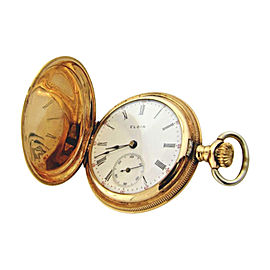 Elgin 14K Yellow Gold Hunter Case Womens Pocket Watch