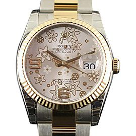 Rolex Datejust 116233 Stainless Steel & 18K Yellow Gold Silver Floral Mens Watch 36mm