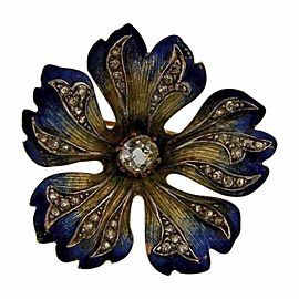 14K Yellow Gold Enamel & 0.89ct Diamond Flower Brooch