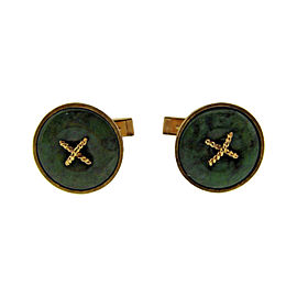 18K Yellow Gold & Jade Button Cufflinks