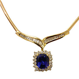 18K Yellow Gold 5.89ct Tanzanite & Diamond Necklace