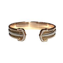 Cartier CC 18K White, Rose & Yellow Gold With Diamond Cuff Bracelet Size 17