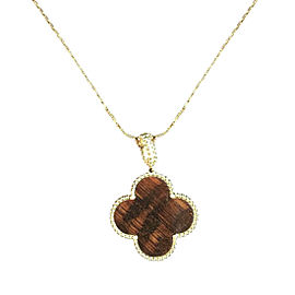 Van Cleef & Arpels Magic Alhambra 18K Rose Gold Snakewood Pendant Necklace