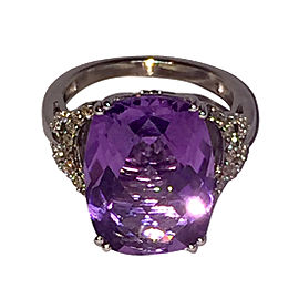 LeVian 14K White Gold with Amethyst and Diamond Ring Size 7