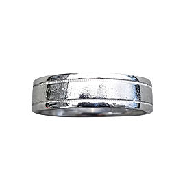 Tiffany & Co. Platinum Double Millgrain Engagement Band Ring Size 10.25