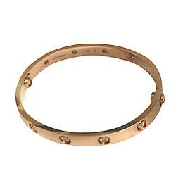 Cartier Rose Gold Love Bracelet 10 Diamonds Size 17