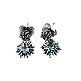 David Yurman Sterling Silver Blue Topaz Starburst Double Drop Earrings