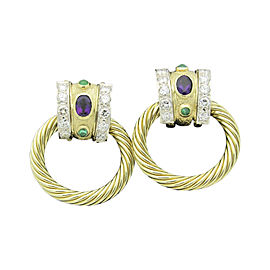 David Yurman 14K Yellow Gold 5.00tcw. Diamond Cable Door Knocker Amethysts Emeralds Earrings