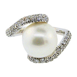 Mikimoto 18K White Gold Cultured Pearl and 1.75 Ct Diamond Bypass Ring Size 7