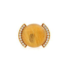 Cartier 18K Yellow Gold Rutilated Diamond Quartz Ring Size 5.25