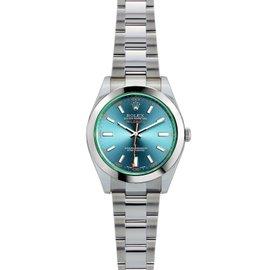 Rolex Milgauss 116400 Stainless Steel Blue Dial Green Bezel 40mm Mens Watch