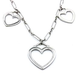 Tiffany & Co. 18K White Gold Triple Hearts Pendant Necklace