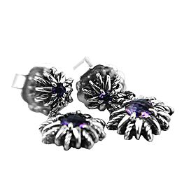 David Yurman 925 Sterling Silver Starburst Double Drop Amethyst Earrings
