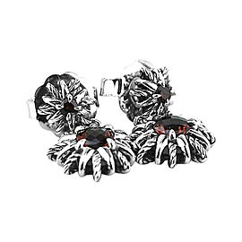 David Yurman 925 Sterling Silver Starburst Double Drop Red Garnet Earrings