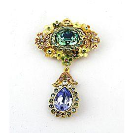 Jay Strongwater Malia Mille Fiori Enamel Over Metal Opal Swarovski Pin Brooch