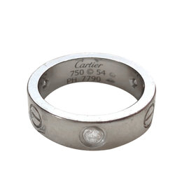 Cartier Love 18K White Gold with 3 Diamonds Ring Size 6.75