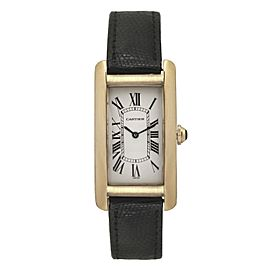 Cartier Tank Americaine 1720 Quartz 18K Yellow Gold Leather 22mm Unisex Watch