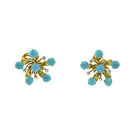 Tiffany & Co. Platinum & 18K Yellow Gold Schlumberger Turquoise & Diamond Earrings