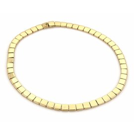 Tiffany & Co. 18K Yellow Gold Square Link Wide Collar Necklace