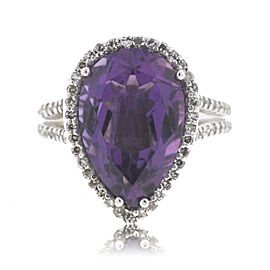 Effy 14K White Gold Pear Shape Amethyst Diamonds Ring Size 6.0