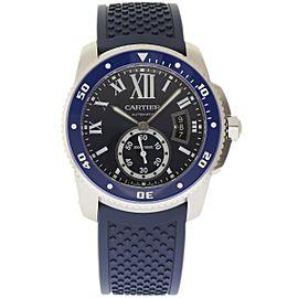 Cartier Calibre De WSCA0011 Stainless Steel & Rubber Blue Dial Automatic 42mm Mens Watch