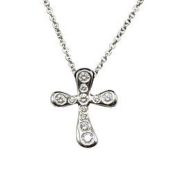 Tiffany & Co. Elsa Peretti Platinum & Diamond Cross Pendant Necklace