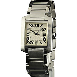 Cartier Tank Francaise W51002Q3 Stainless Steel Silver Dial Automatic 32mm Unisex Watch