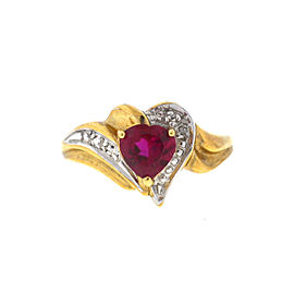 14K Yellow Gold Garnet Diamond Ring Size 7