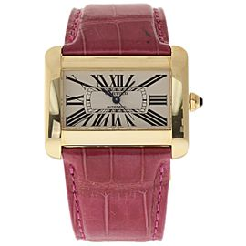 Cartier Tank Divan W6300856 Yellow Gold & Leather Silver Dial Automatic 30mm Womens Watch