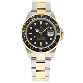 Rolex GMT Master II 16713 Stainless Steel & 18K Yellow Gold Black Dial Automatic 40mm Mens Watch