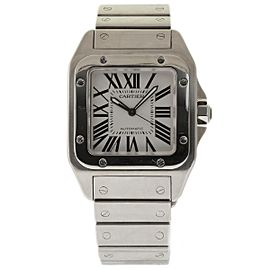 Cartier Santos 100 W200737G Stainless Steel White Dial Automatic 38mm Mens Watch