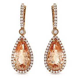 18K Rose Gold Morganite Diamond Tear Drop Earrings