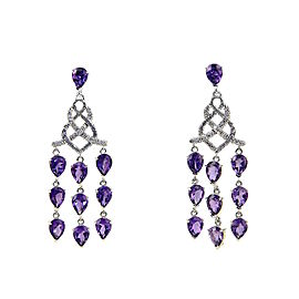 John Hardy 925 Sterling Silver Diamond Amethyst Chandelier Earrings